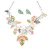 Matt Pastel Multicoloured Enamel Leaf Necklace and Stud Earrings Set In Light Silver Tone - 45cm L/ 7cm Ext