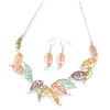 Matt Pastel Multicoloured Enamel Leaf Necklace and Drop Earrings Set In Light Silver Tone Metal - 45cm L/ 7cm Ext