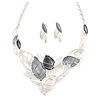 Matte Enamel Pastel Grey/ White Leaf Motif Necklace and Stud Earrings Set In Silver Tone - 44cm L/ 7cm Ext