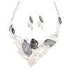 Matte Enamel Pastel Grey/ White Leaf Motif Necklace and Stud Earrings Set In Silver Tone - 44cm L/ 7cm Ext