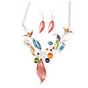 Matt Pastel Multicoloured Enamel Leaf Necklace and Stud Earrings In Light Silver Tone - 45cm L/ 7cm Ext