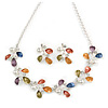 Matt Pastel Enamel, Faux Pearl, Clear Crystal Floral Necklace and Stud Earrings Set In Light Silver Tone Metal - 45cm L/ 7cm Ext