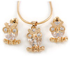 Tiny Clear CZ Owl Pendant with Snake Type Chain & Stud Earrings Set In Gold Tone - 42cm L/ 6cm Ext