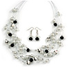 Romantic Multistrand Layered Beaded Necklace and Drop Earrings Set (White, Black) - 50cm L/ 4cm Ext