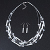 Multistrand White Glass Bead Wire Necklace & Drop Earrings Set - 48cm Length/ 5cm Extension