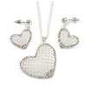 Romantic Crystal Heart Pendant and Drop Earrings In Silver Tone Metal - 40cm/ 4cm Ext