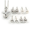 Clear Crystal Guardian Angel Pendant and 4 Pairs of Stud Earrings Set In Silver Tone