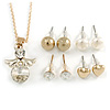 Clear Crystal Guardian Angel Pendant and 4 Pairs of Stud Earrings Set In Gold Tone