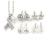 Clear Crystal Breast Cancer Awareness Ribbon Pendant and 4 Pairs of Stud Earrings Set In Sivler Tone