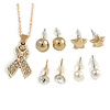 Clear Crystal Breast Cancer Awareness Ribbon Pendant and 4 Pairs of Stud Earrings Set In Gold Tone