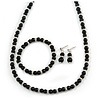 6mm Black Ceramic Bead Necklace, Flex Bracelet & Drop Earrings With Crystal Ring Set In Silver Tone - 42cm L/ 4cm Ext