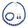 Royal Blue Ceramic Bead Necklace, Flex Bracelet & Drop Earrings With Crystal Ring Set In Silver Tone - 48cm L/ 6cm Ext