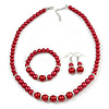 Red Glass Bead Necklace, Flex Bracelet & Drop Earrings With Crystal Ring Set In Silver Tone - 48cm L/ 6cm Ext