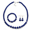 Blue Ceramic Bead Necklace, Flex Bracelet & Drop Earrings With Crystal Ring Set In Silver Tone - 48cm L/ 6cm Ext