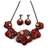 Red/ Coral Crystal Asymmetrical Acrylic Floral Necklace with Black Tone Chain - 41cm L/ 7cm Ext - Gift Boxed