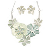 Pastel Green Flower Cluster V shape Necklace and Stud Earrings Set In Silver Tone - 42cm L/ 9cm Ext - Gift Boxed
