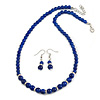 5mm, 7mm Royal Blue Ceramic/ Crystal Bead Necklace and Drop Earring Set In Silver Plating - 44cm L/ 5cm Ext