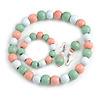 Pastel Mint/ Pink/ White Wood Flex Necklace, Bracelet and Drop Earrings Set - 46cm L