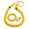 Banana Yellow/ Bronze Long Wooden Bead Necklace, Flex Bracelet and Drop Earrings Set - 80cm Long