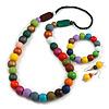 Multicoloured Long Wooden Bead Necklace, Flex Bracelet and Drop Earrings Set - 80cm Long