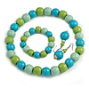 Pastel Mint/ Green/ Turquoise Wood Flex Necklace, Bracelet and Drop Earrings Set - 46cm L