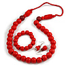 Red Wooden Bead Necklace, Flex Bracelet and Drop Earrings Set - 80cm Long