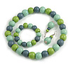 Pastel Mint/ Green/ Grey Wood Flex Necklace, Bracelet and Drop Earrings Set - 46cm L