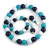 Dark Blue/ Turquoise/ White Wood Flex Necklace, Bracelet and Drop Earrings Set - 46cm L