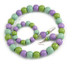 Pastel Mint/ Green/ Purple Wood Flex Necklace, Bracelet and Drop Earrings Set - 46cm L