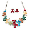 Romantic Multicoloured Matt Enamel Floral Necklace & Stud Earrings In Rhodium Plated Metal - 46cm L/ 6cm Ext