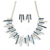 Pastel Metallic Silver/ Grey/ Blue Matt Enamel Abstract Bar Necklace & Stud Earrings In Silver Tone Metal - 43cm L/ 6cm Ext