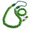 Grass Green Wooden Bead Necklace, Flex Bracelet and Drop Earrings Set - 80cm Long