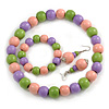 Pastel Pink/ Green/ Purple Wood Flex Necklace, Bracelet and Drop Earrings Set - 46cm L