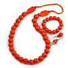 Orange Long Wooden Bead Necklace, Flex Bracelet and Drop Earrings Set - 80cm Long