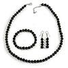 Black Glass/ Ceramic Bead with Silver Tone Spacers Necklace/ Earrings/ Bracelet Set - 48cm L/ 7cm Ext