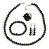 Black Glass/ Ceramic Bead with Silver Tone Spacers Necklace/ Earrings/ Bracelet/ Ring Set - 48cm L/ 7cm Ext, Ring Size 7/8 Adjustable