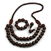 Chunky Brown Long Wooden Bead Necklace, Flex Bracelet and Drop Earrings Set - 90cm Long