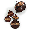 Long Brown Cord Wooden Pendant with Geometric Motif, Drop Earrings and Bangle Set in Brown - 76cm L/ Medium Size Bangle