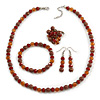 Chocolate/ Amber Glass/ Ceramic Bead with Silver Tone Spacers Necklace/ Earrings/ Bracelet/ Ring Set - 48cm L/ 7cm Ext, Ring Size 7/8 Adjustable