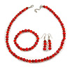 Red Glass/ Ceramic Bead with Silver Tone Spacers Necklace/ Earrings/ Bracelet Set - 48cm L/ 7cm Ext