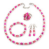 Deep Pink/ Pastel Pink Glass/ Ceramic Bead with Silver Tone Spacers Necklace/ Earrings/ Bracelet/ Ring Set - 48cm L/ 7cm Ext, Ring Size 7/8 Adjustable