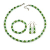 Grass Green/ Pea Green Glass/ Ceramic Bead with Silver Tone Spacers Necklace/ Earrings/ Bracelet Set - 48cm L/ 7cm Ext