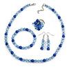 Blue/ Light Blue Glass/ Ceramic Bead with Silver Tone Spacers Necklace/ Earrings/ Bracelet/ Ring Set - 48cm L/ 7cm Ext, Ring Size 7/8 Adjustable
