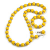 Yellow Wood and Silver Acrylic Bead Necklace, Earrings, Bracelet Set - 70cm Long