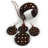Long Brown Cord Wooden Pendant with Dotted Motif, Drop Earrings and Cuff Bangle Set in Brown - 76cm L/ Medium Size Bangle