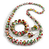 Multicoloured Wooden Bead Long Necklace, Drop Earrings, Flex Bracelet Set - 80cm Long