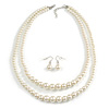 2 Strand Layered Light Cream Graduated Glass Bead Necklace and Drop Earrings Set - 50cm L/ 4cm Ext