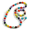 Multicoloured Wood and Silver Acrylic Bead Necklace, Earrings, Bracelet Set - 70cm Long