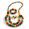 Chunky Multicoloured Long Wooden Bead Necklace, Flex Bracelet and Drop Earrings Set - 90cm Long