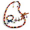 Multicoloured Wooden Bead with Bow Long Necklace, Bracelet and Drop Earrings Set - 80cm Long